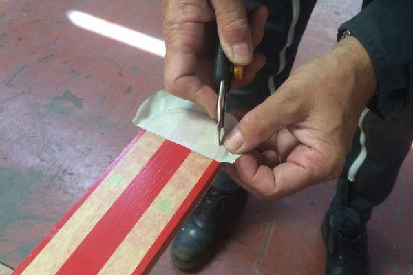 Juillet 2018 : peinture : préparation des liserets noirs